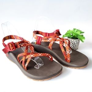 New Chaco Z Cloud X Orange Red Peach Sandals 9